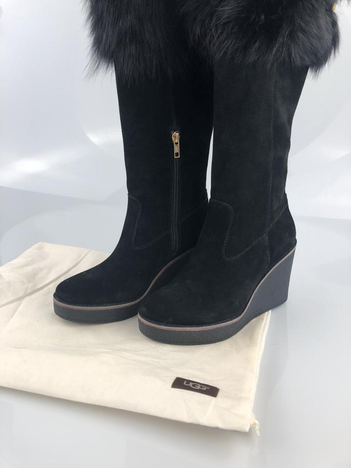 a12eedc54b98 UGG Australia Black Valberg Suede Wedge Boots Booties Size US 7.5 Regular (M