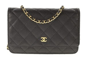Chanel Caviar Classic Wallet On A Chain Leather Cross Body Bag