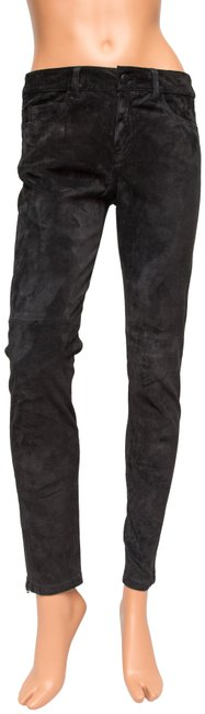 JOE'S Jeans Suede Collection Leather Ankle Skinny Pants Black Image 0