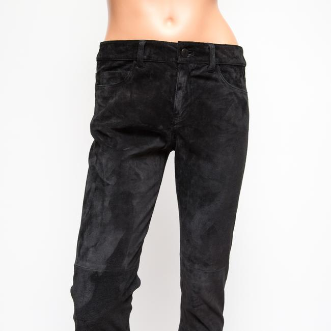 JOE'S Jeans Suede Collection Leather Ankle Skinny Pants Black Image 1