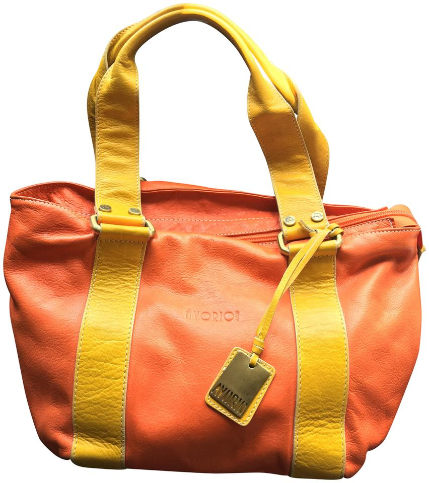 Avorio Leather Made In Italy Satchel Orange And Yellow