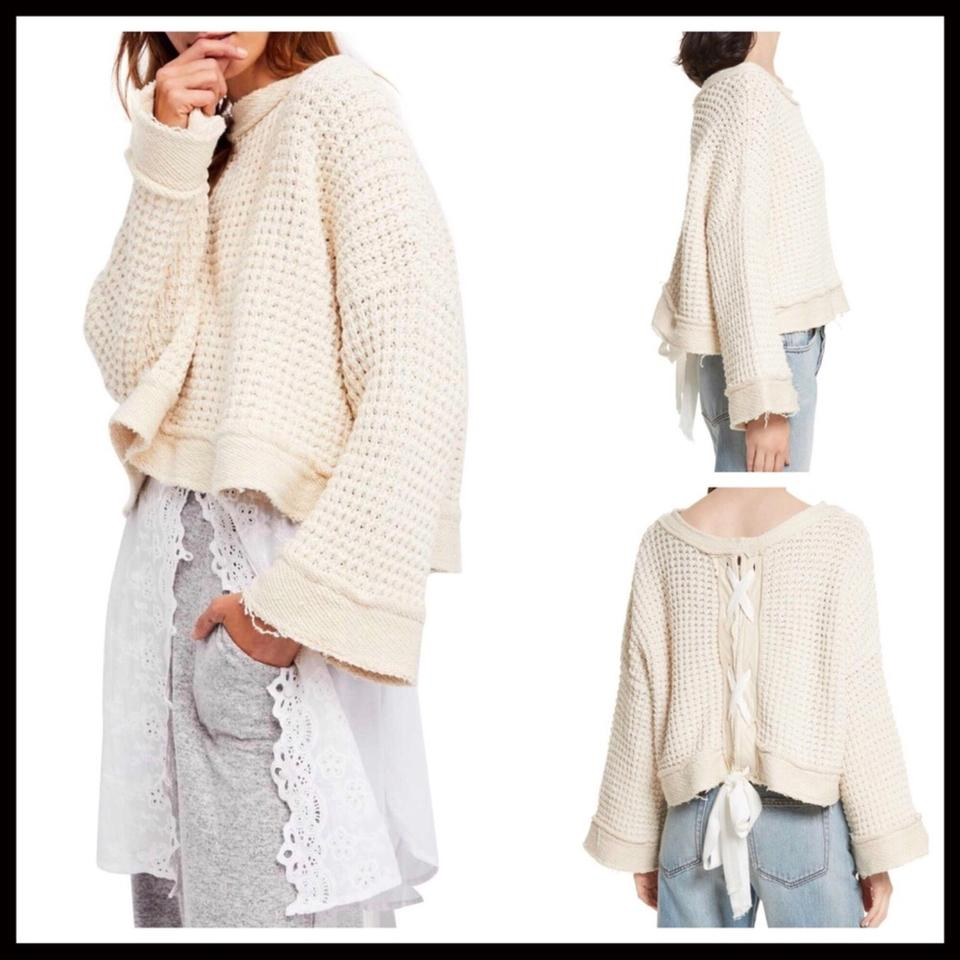d4be45b1f3335 Free People Lace-up Back Waffle Knit Pink Dusty Rose Sweater 22% off retail