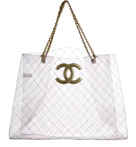 Chanel Leather Clear Vintage Timeless Tote in Transparent 89d1eb1f11329