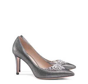 Tory Burch Metallic Crystal Evening Formal Pewter Pumps