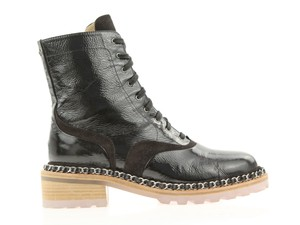 Chanel 15a Patent Leather Combat Chain Trim Black Boots