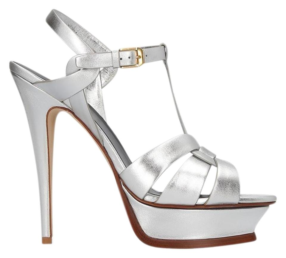abb4f480192 Saint Laurent Silver Tribute 105 Sandals Size EU 38.5 (Approx. US ...