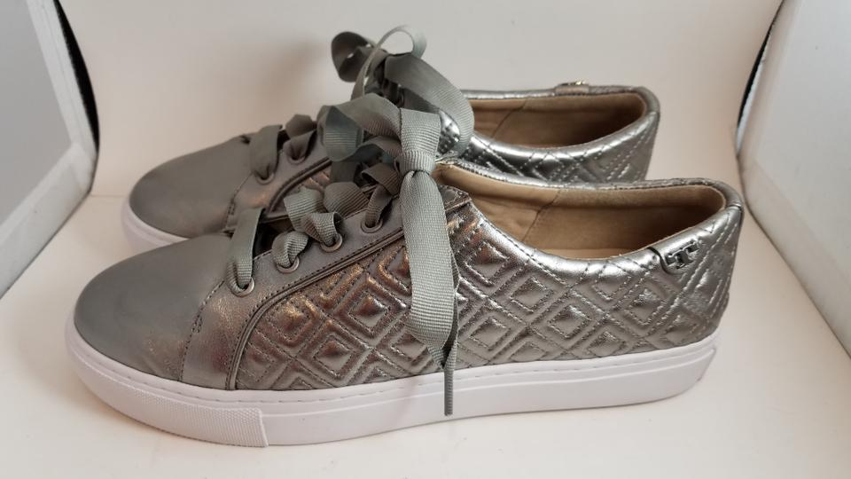 33d30864c6bd3 Tory Burch Gunmetal Marion Quilted Metallic Sneakers Comfort Lace-up ...