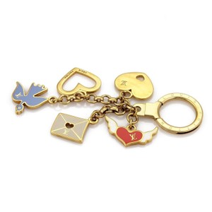 Louis Vuitton Love Birds Multi Charms Enamel Gold Tone Bag Charm Key ring