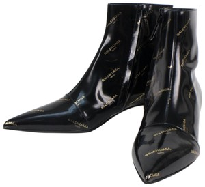 Balenciaga Leather Pointed Toe Made In Italy Black Boots