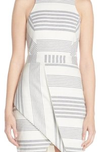 adelyn rae short dress gray and ivory stripe on Tradesy
