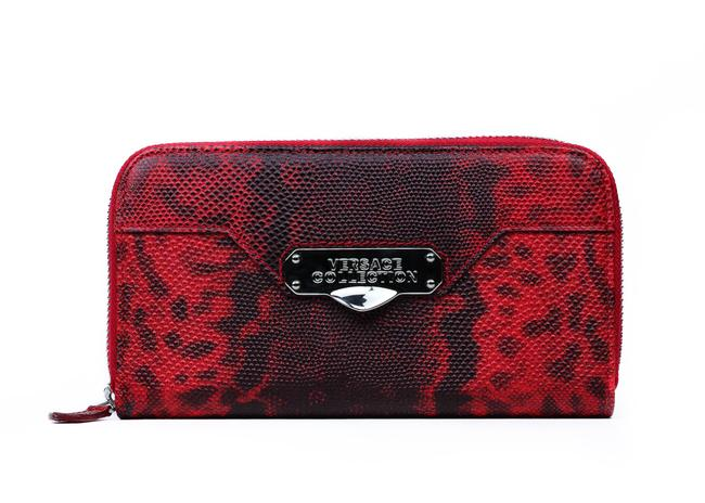 Item - Red Patterned Leather Zip Around Continental Wallet
