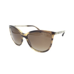 Chanel Brown Polarized Cat Eye Chain Link Sunglasses 5352 1566