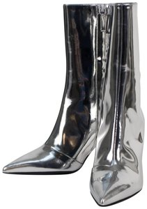 Balenciaga Leather Pointed Toe Made In Italy Metallic Silver Boots
