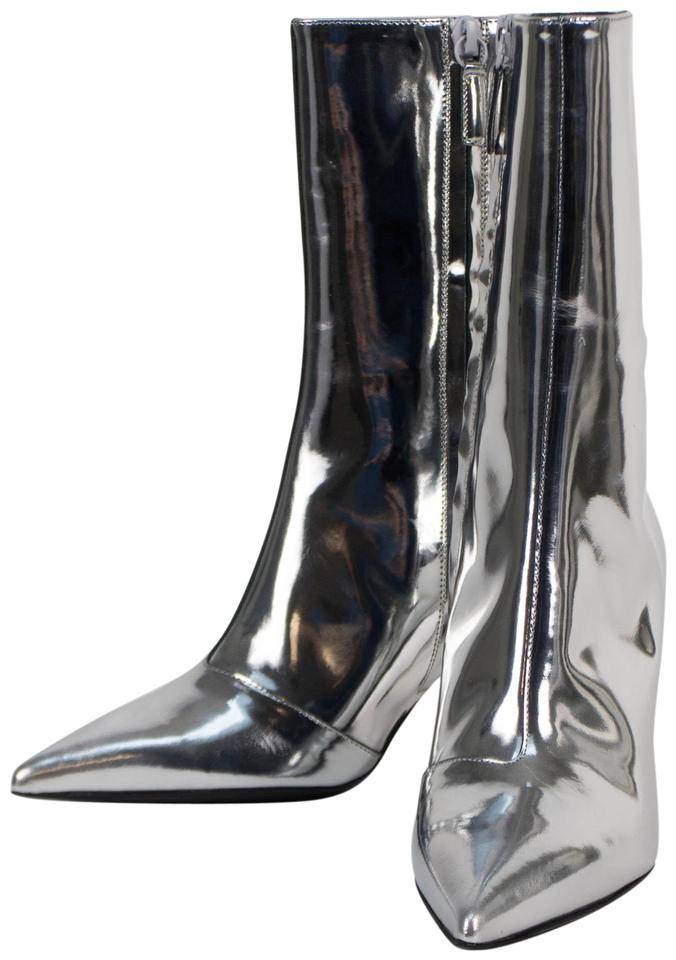 887a58c1600 Balenciaga Silver Patent Leather Slash Heel Ankle Boots/Booties Size EU 38  (Approx. US 8) Regular (M, B)