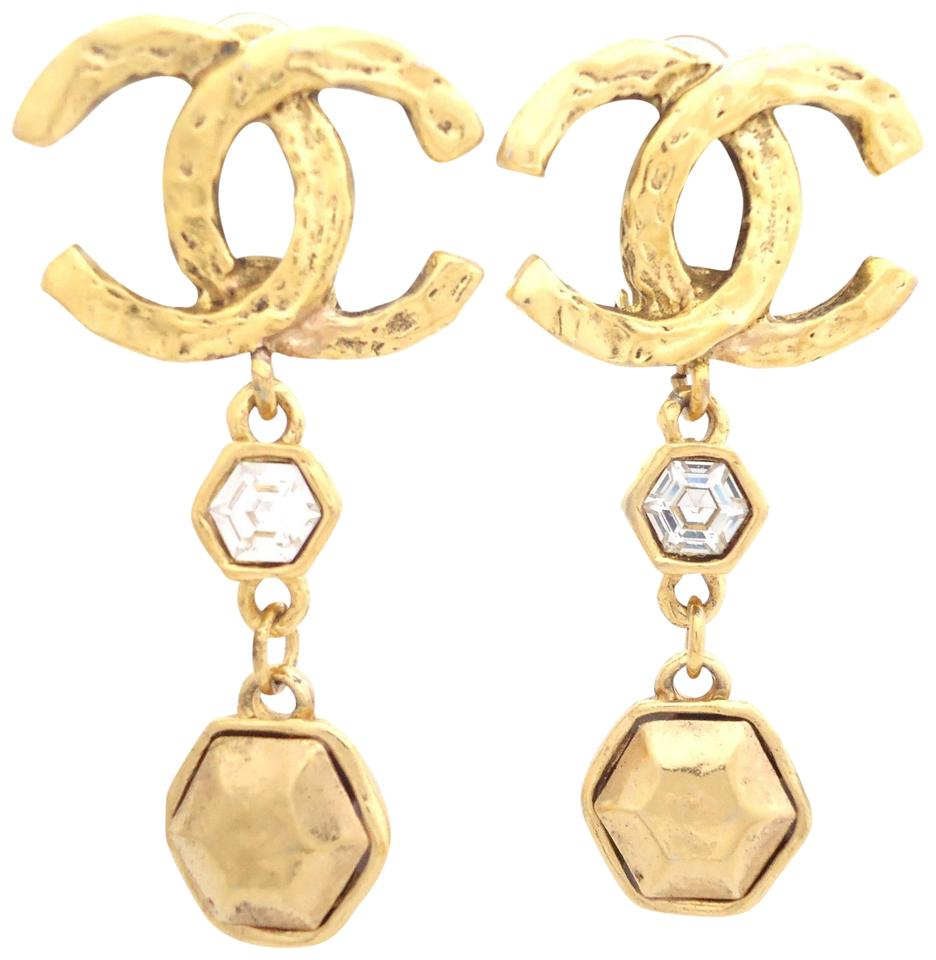 Chanel Cc Logo Crystal Large Size Dangle Drop Clips Earrings