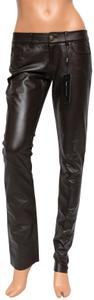 Paige Leather Hyde Lined Skinny Pants brown