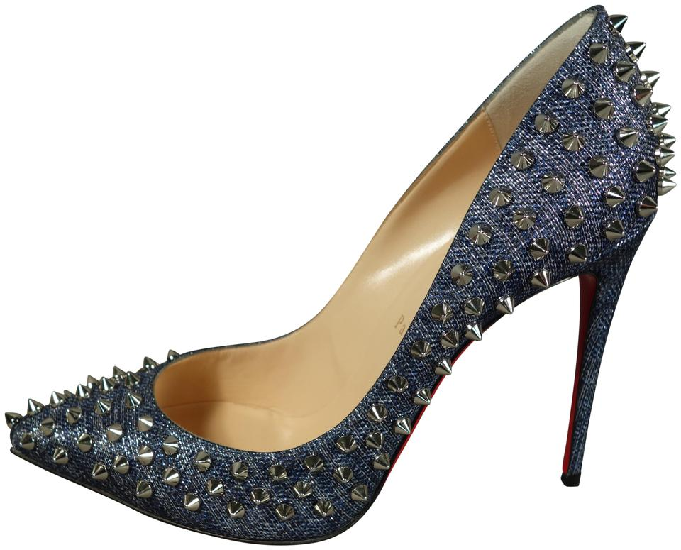 sports shoes f1f04 98242 Christian Louboutin Denim Silver Follies Spikes 100 Lame Lux Metallic Point  Toe Heel Pumps Size EU 39 (Approx. US 9) Regular (M, B) 27% off retail