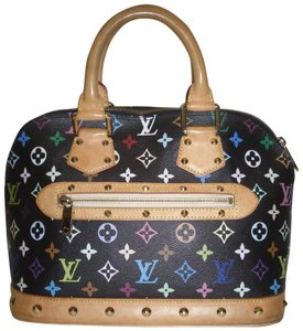 Louis Vuitton Murakami Limited Edition Studded Medium Monogram Satchel in Black/Multi