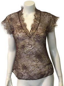 Reem Acra Lace Blouse Lace Lace Chanel Top burgandy/gold