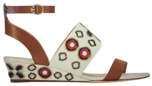 Tory Burch light brown , shiny white Sandals