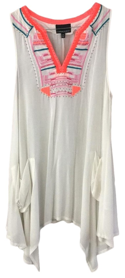 eb935ce39cb Cynthia Rowley White Neon Embroidered Beach Dress Cover-up Sarong ...