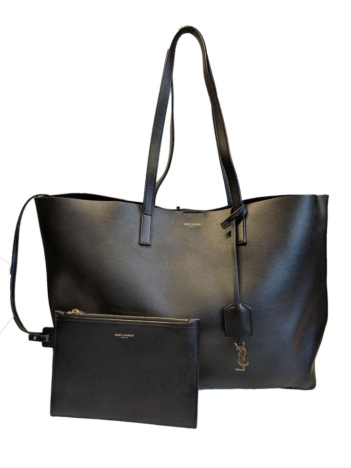 Laurent Shopping Black Saint Tote Calfskin Leather Swzdq