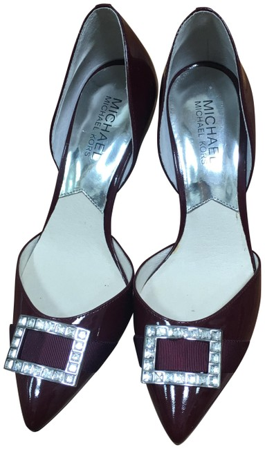 Item - Burgundy Womans Pumps Pattened Leather Formal Shoes Size US 7 Regular (M, B)