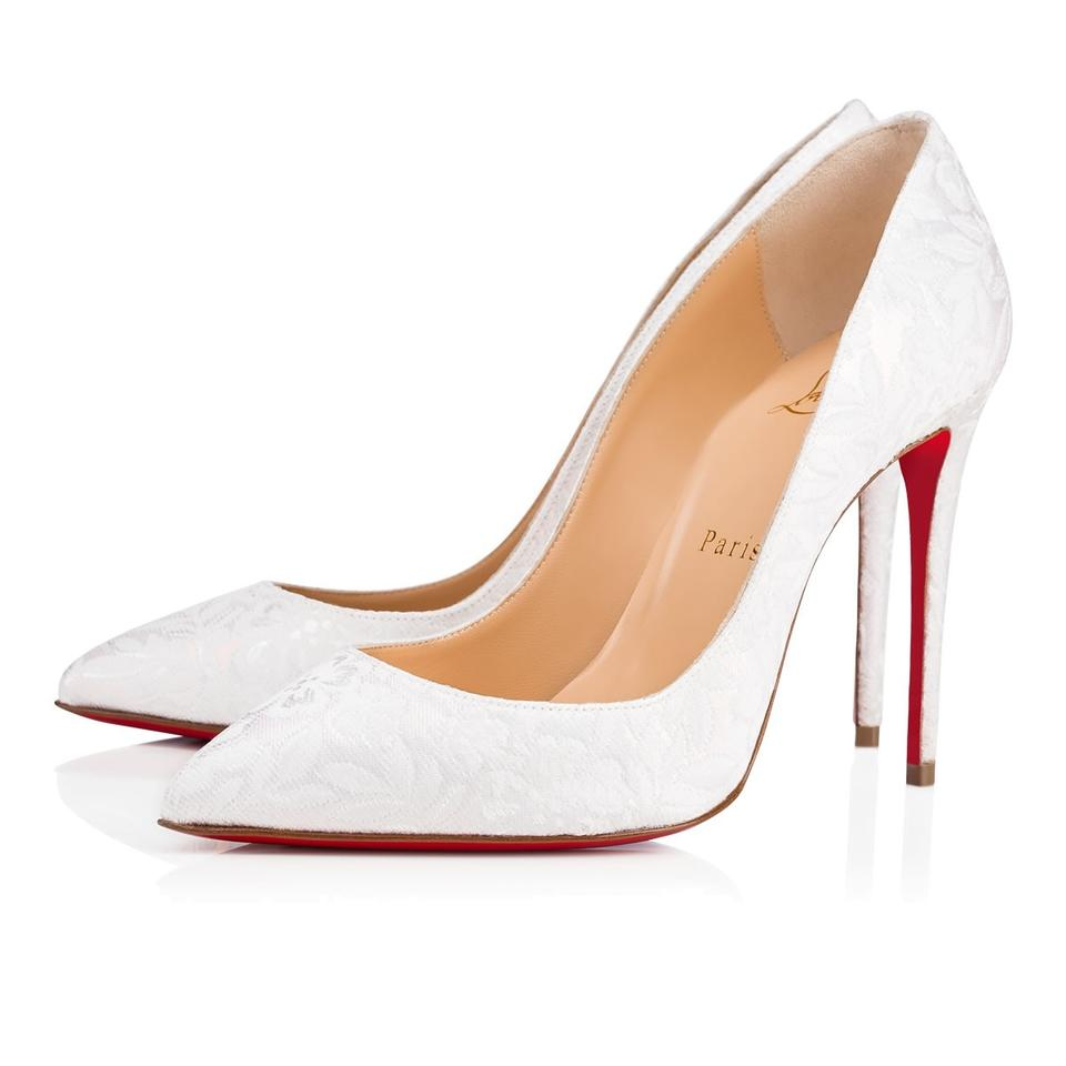 official photos b9ccb 98a02 Christian Louboutin White Pigalle Follies 100 Latte Tissu Flower Bridal  Wedding Heel Pumps Size EU 38 (Approx. US 8) Regular (M, B)