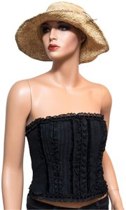 Kay Unger Lace Crop Bustier Polka Dot Top Black