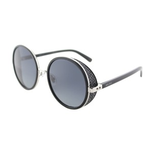 9e376ecc458 Jimmy Choo Jimmy Choo JC Andie N B1A Palladium Black Round Sunglasses Grey  Lens