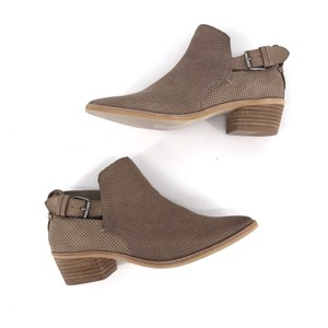 Dolce Vita Almond Toe Stacked Heel Buckle Taupe Boots