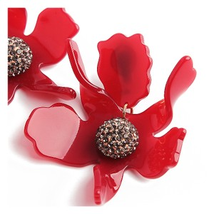 Lele Sadoughi BRAND NEW Lele Sadoughi Raspberry Red Crystal Lily Flower Earrings