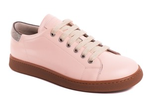 Brunello Cucinelli Lace Up Sneakers Beaded Pink Athletic