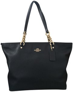 Coach Shoulder Tote in Black with Gold Hardware