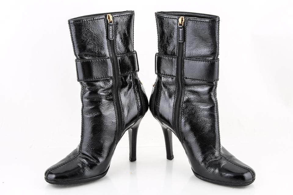 3d45238f7 Gucci Black Patent Leather Gold Tone Shield Buckle Square Boots/Booties Size  US 5 Regular (M, B) - Tradesy
