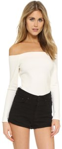 L'AGENCE Off The Shoulder Longsleeve Jersey Stretchy Top ivory