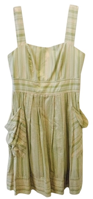 Preload https://img-static.tradesy.com/item/2353924/london-times-golden-with-mix-shades-of-green-shimmer-strips-mid-length-short-casual-dress-size-4-s-0-0-650-650.jpg