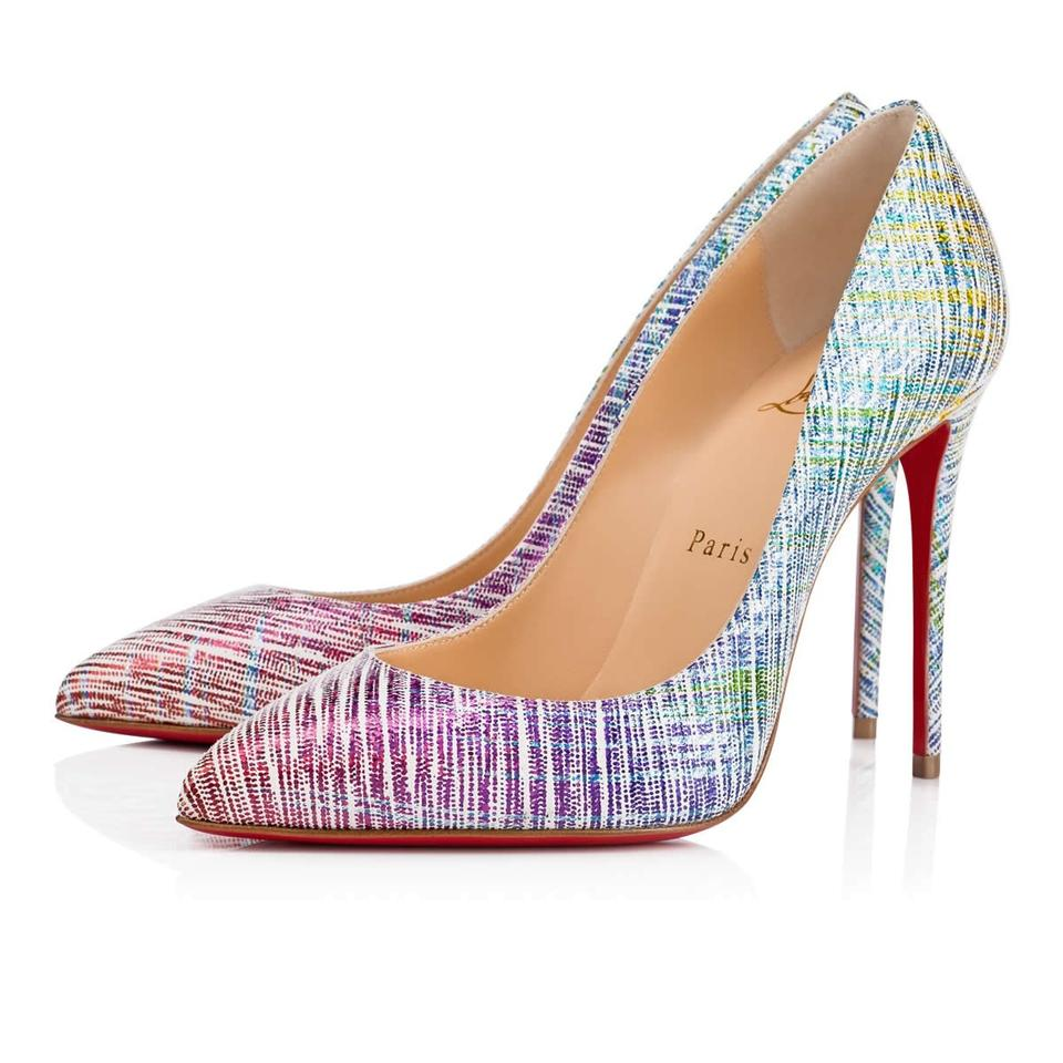 new arrival d4345 15db2 Christian Louboutin Blue Pigalle Follies 100 Pink Purple Unicorn Suede  Stiletto Heel Pumps Size EU 36.5 (Approx. US 6.5) Regular (M, B)