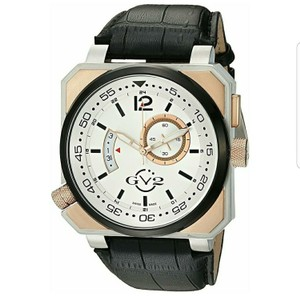 GV2 By Gevril GV2 by Gevril XO Submarine Mens Swiss Quartz Black Leather Strap Watch,