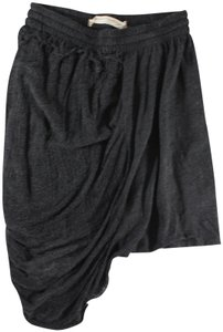 Raquel Allegra Shredded Distressed Asymmetric Mini Skirt Gray