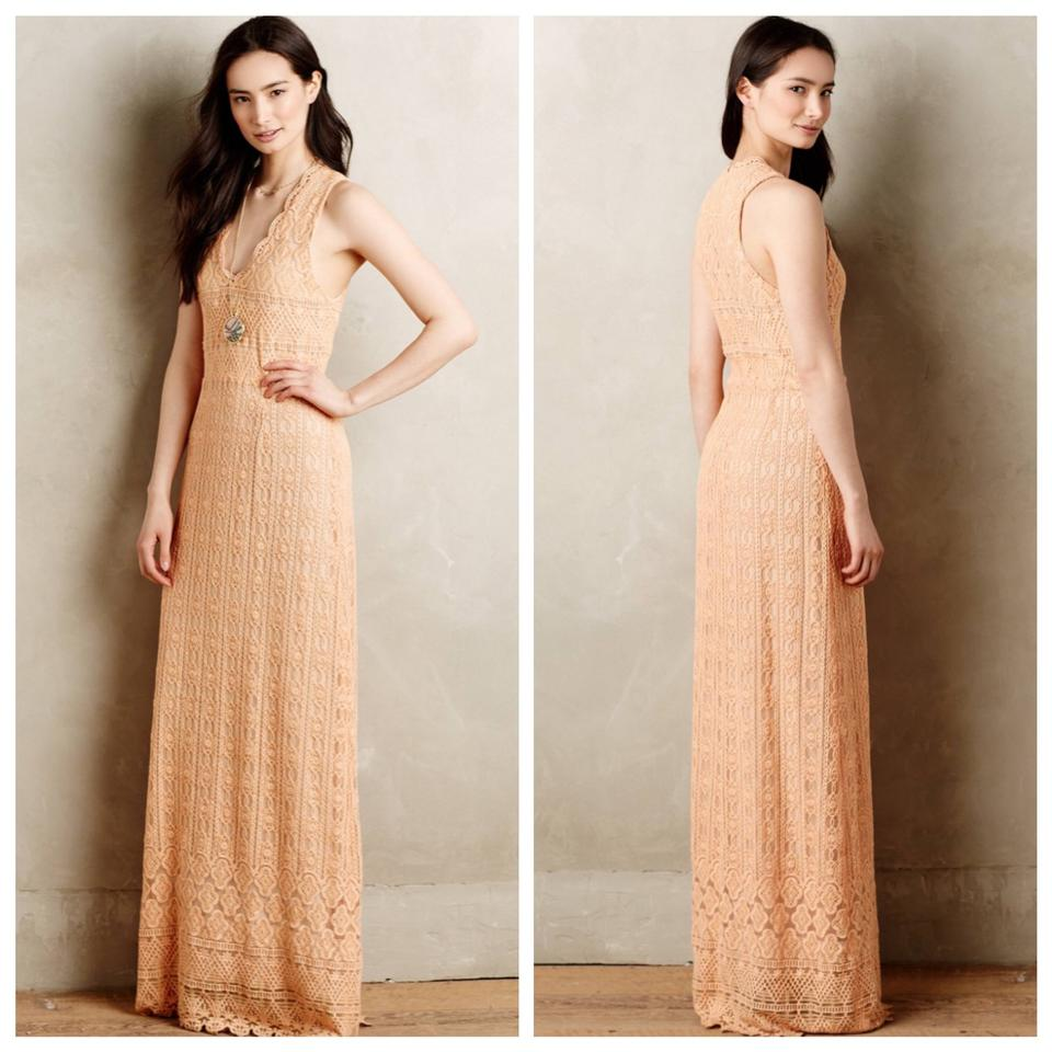 b2a14c12244c Anthropologie Peach Korovilas Lace Crochet Casual Maxi Dress. Size: 4 ...