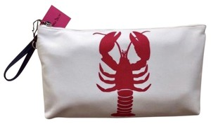 Donna Dixon Lobster Print Nautical Preppy Wristlet in Red/white/navy