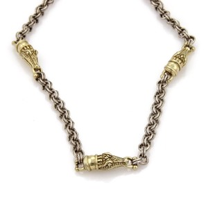 Kieselstein-Cord Sterling Silver 14k Yellow Gold Aligator Charm Chain Necklace
