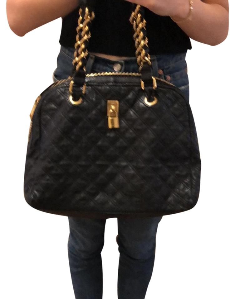 efca82a52cb6 Marc Jacobs Large Quilted Hobo with Gold Chain Detail Black Leather ...