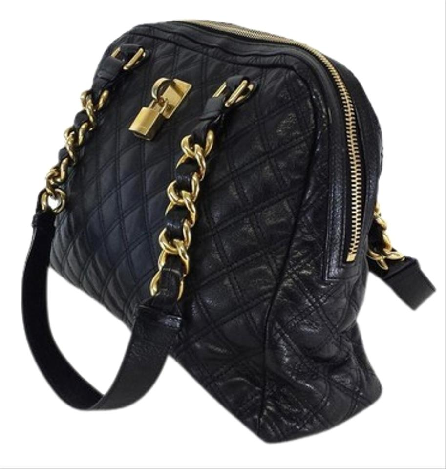 9ebcb26814572 Marc Jacobs Large Quilted Hobo with Gold Chain Detail Black Leather  Shoulder Bag