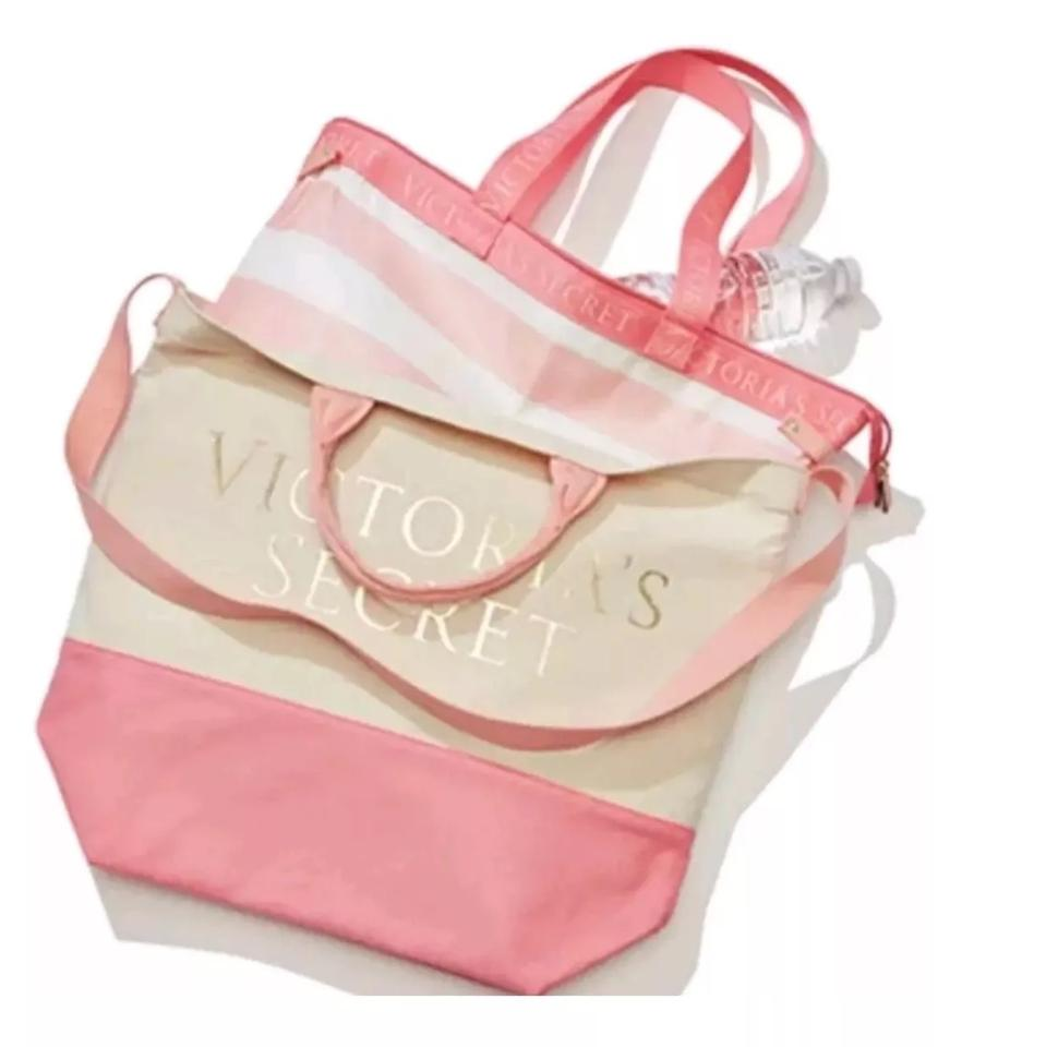 716e2f3d33 Victoria s Secret Beach Cooler 2-in-1 Insulated Cooler Pink Canvas Tote