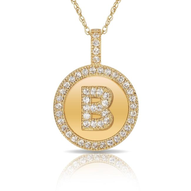 14kt Yellow Gold Plated Silver Initial Letter B Micro Pave Cz Pendant Necklace 14kt Yellow Gold Plated Silver Initial Letter B Micro Pave Cz Pendant Necklace Image 1
