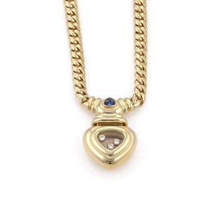 Chopard Diamond Sapphire 18k Yellow Gold Heart Curb Link Necklace