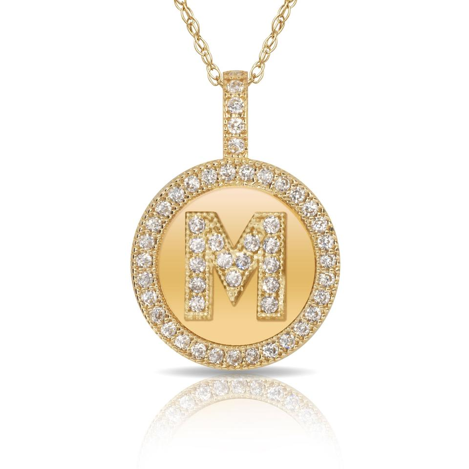 323e91725b Other 14Kt Yellow Gold Plated Silver Initial Letter M Micro Pave CZ Pendant  Image 0 ...