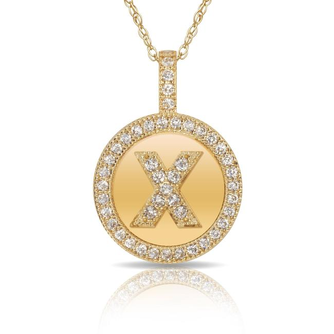 14kt Yellow Gold Plated Silver Initial Letter X Micro Pave Cz Pendant Necklace 14kt Yellow Gold Plated Silver Initial Letter X Micro Pave Cz Pendant Necklace Image 1